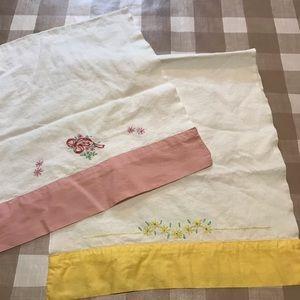 Vintage  oblong embroidered dresser scarfs